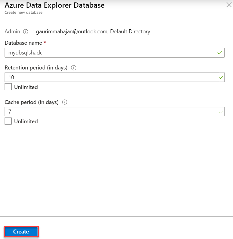 Create a new database in ADX.