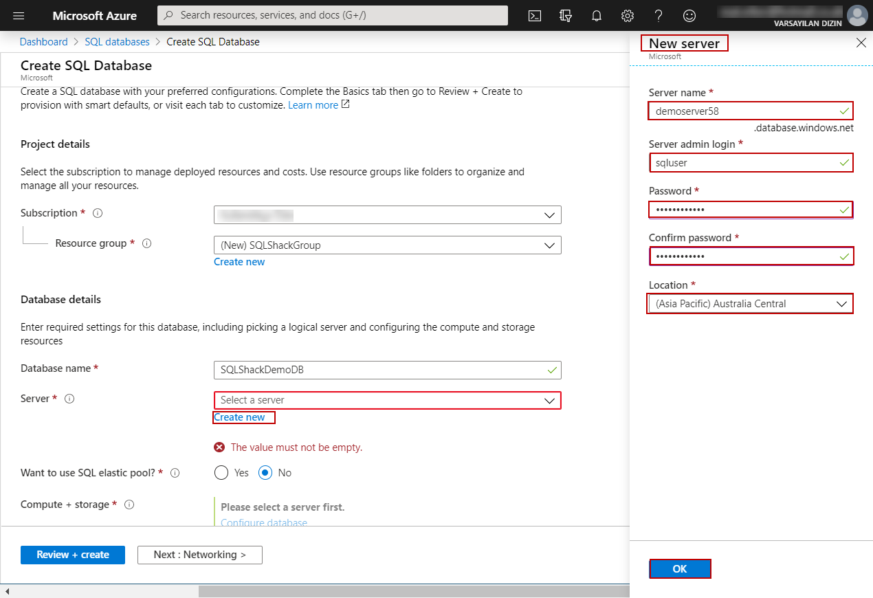 Create SQL Database page in Azure