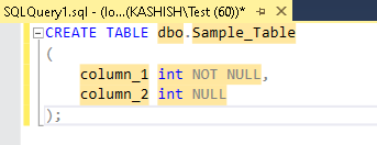 create table definition