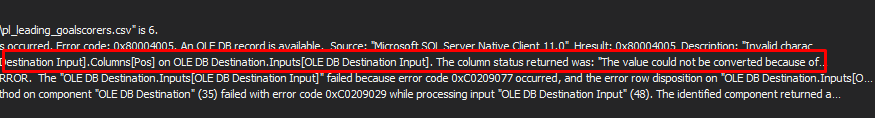 Data Flow Task error details relating to failure to convert value due to incorrect data type