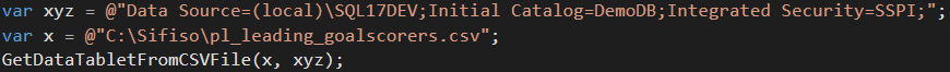 Declaration of local variables containing details about a SQL Server connection string and location of a CSV flat file document