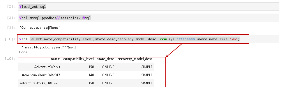 Execute a single line SQL query notebook