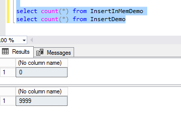 In-Memory Table - SQL output