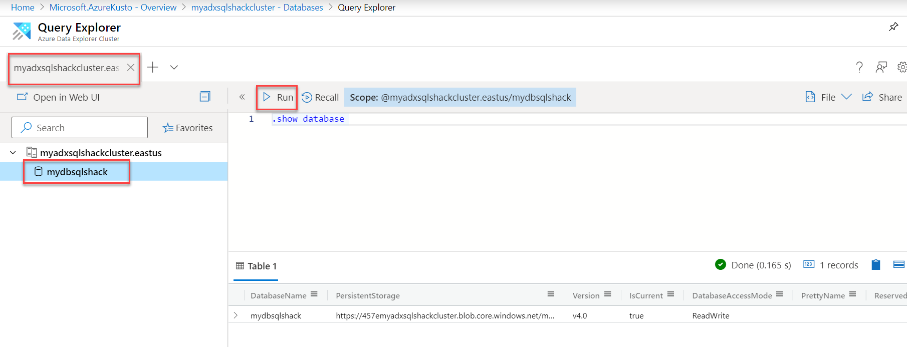 Query explorer in ADX.