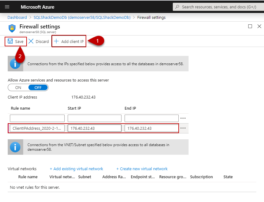 Setting firewall rules of the Azure SQL
