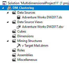 Solution Explorer for the Microsoft Clustering Data Mining Technique.