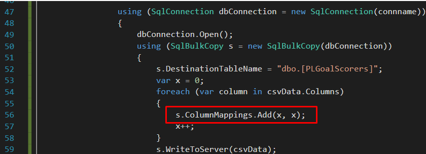 using ColumnMappings.Add method to implement column by column position mapping option.
