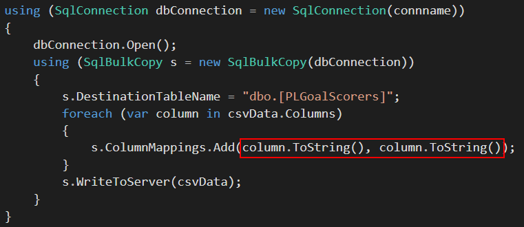 Using the column by name mapping option