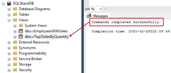 A message in result-set saying that CREATE VIEW SQL command completed successfully and showing the newly created view in Object Explorer