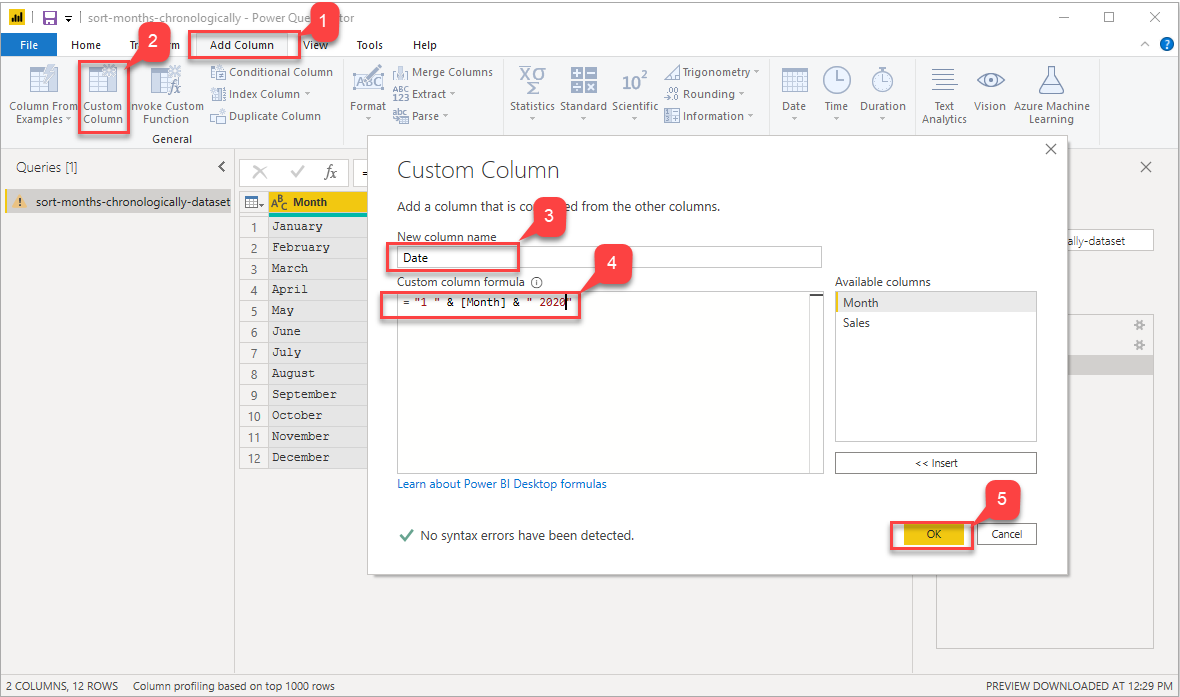 Adding Dummy Date Column to sort months chronologically in power bi