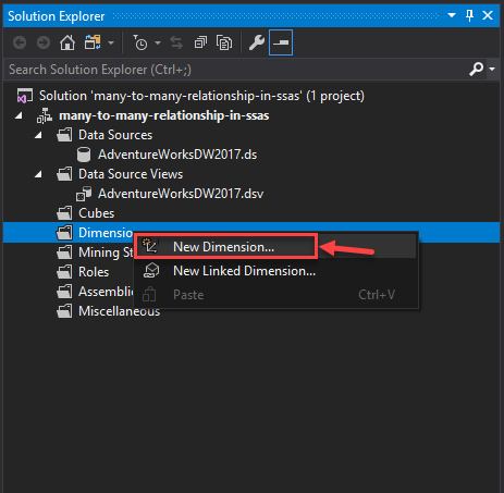 Adding New Dimension for many to many relationships in ssas