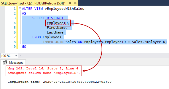 An executed ALTER VIEW SQL script showing error message about ambiguous column name returned only for the SELECT statement in SSMS