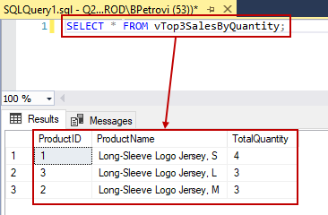 An executed SELECT statement using a view in the FROM clause showing a list of products and total purchasing number