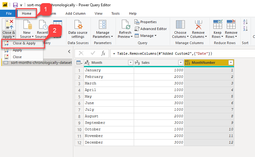 Closing the Power Query Editor
