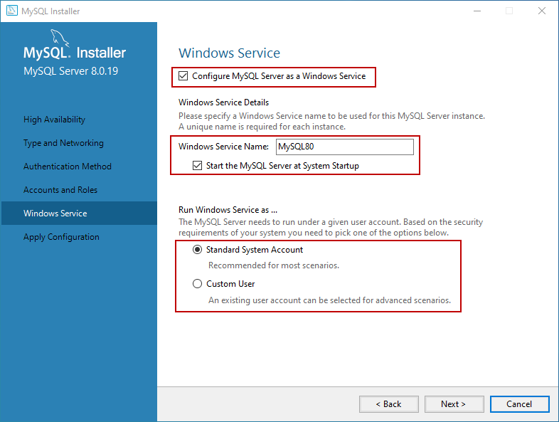 Configure MySQL Database server as a windows service