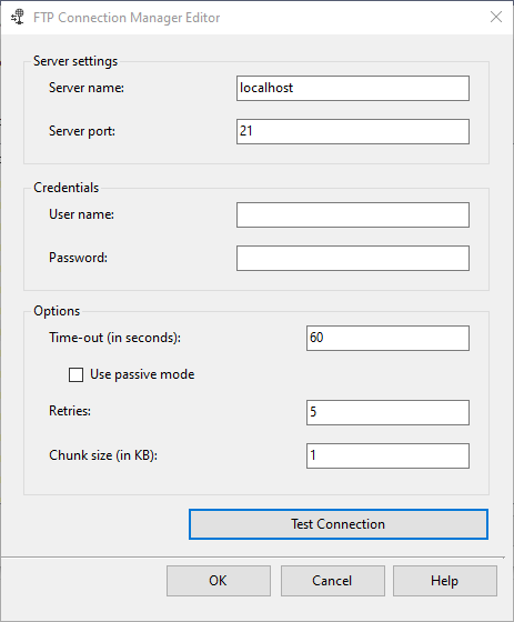 Configuring FTP connection manager