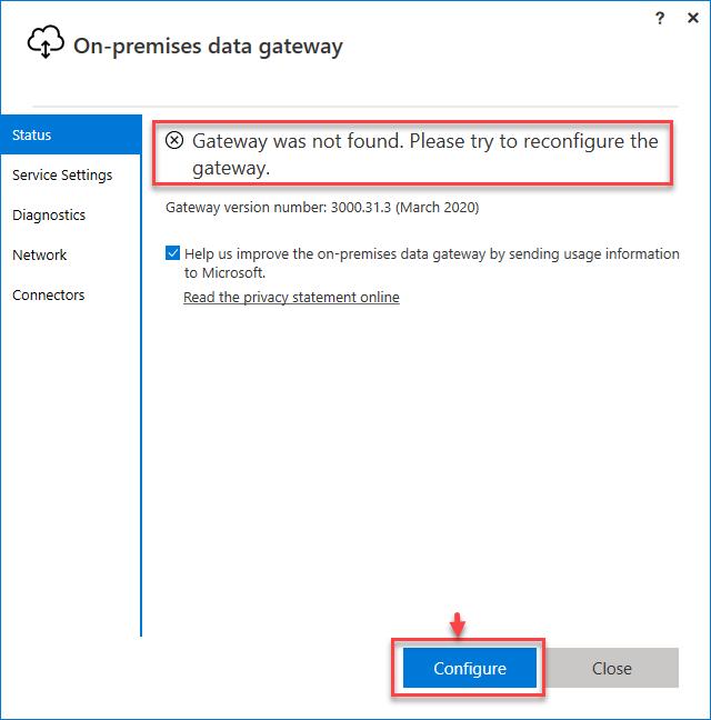 Configuring the Power BI Data Gateway