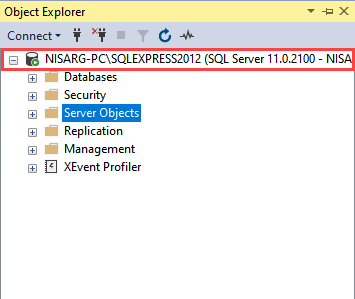 Connected to SQL Server 2012 express