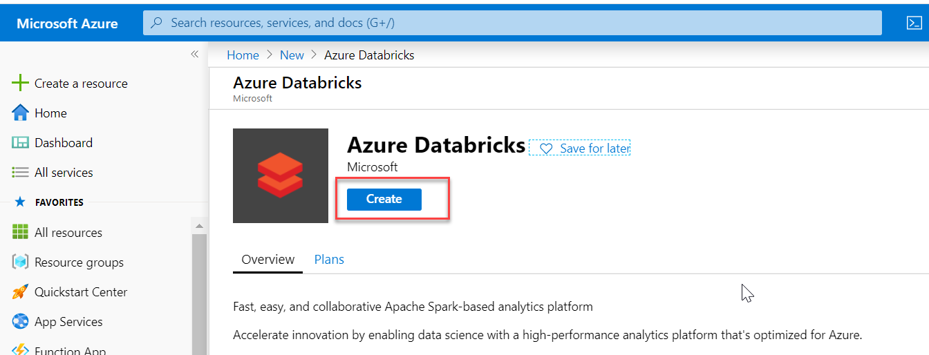 Create Databricks on the Azure portal. 2/3