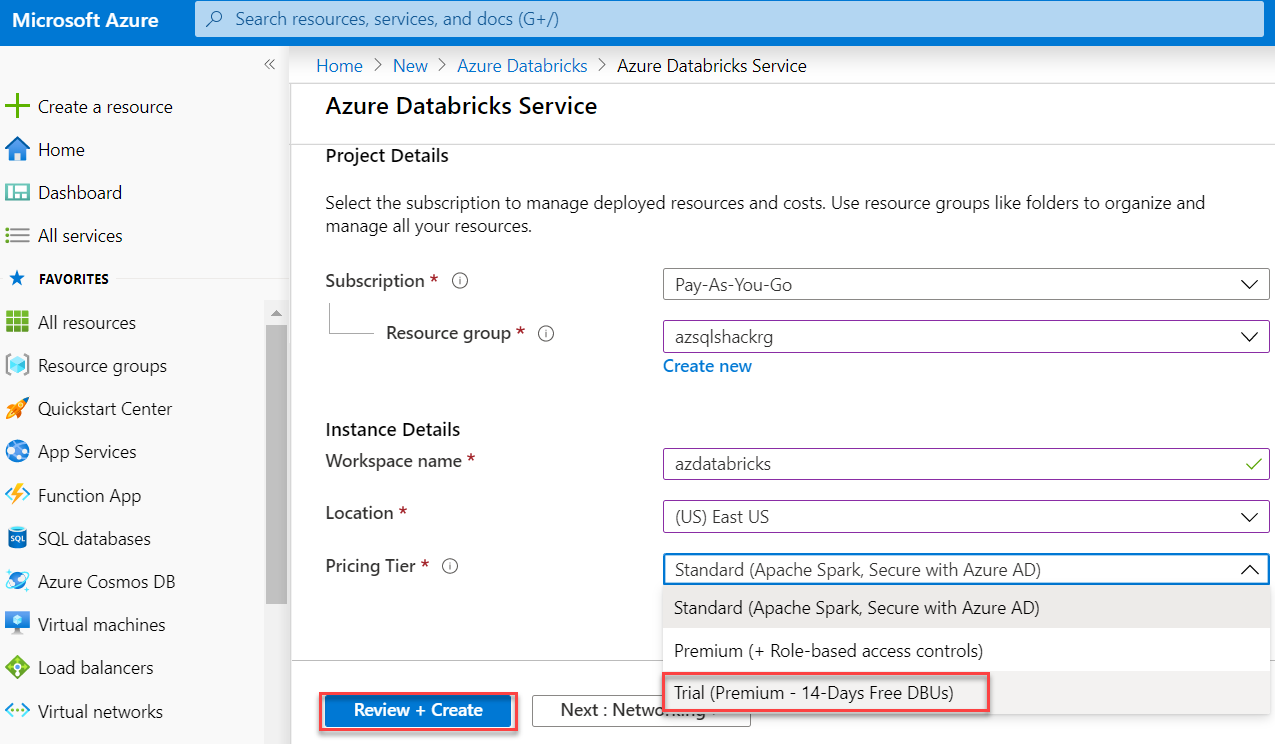 Create Databricks on the Azure portal. 3/3