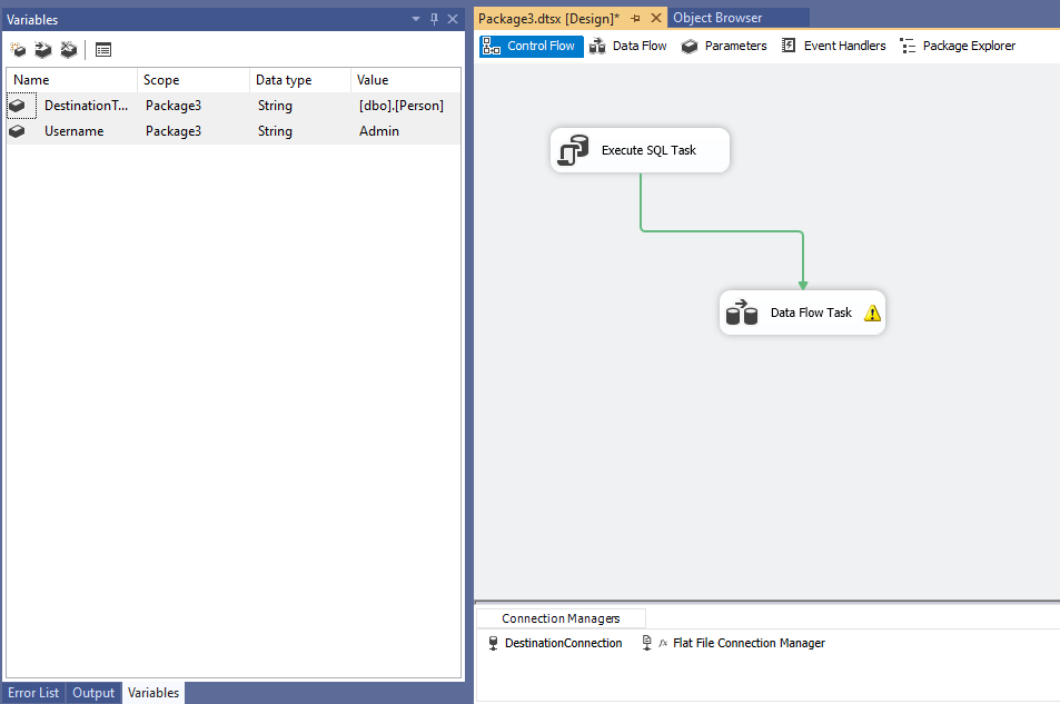 Create SSIS package control flow screenshot