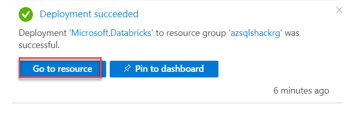 Databricks service successfully deployed on Azure.