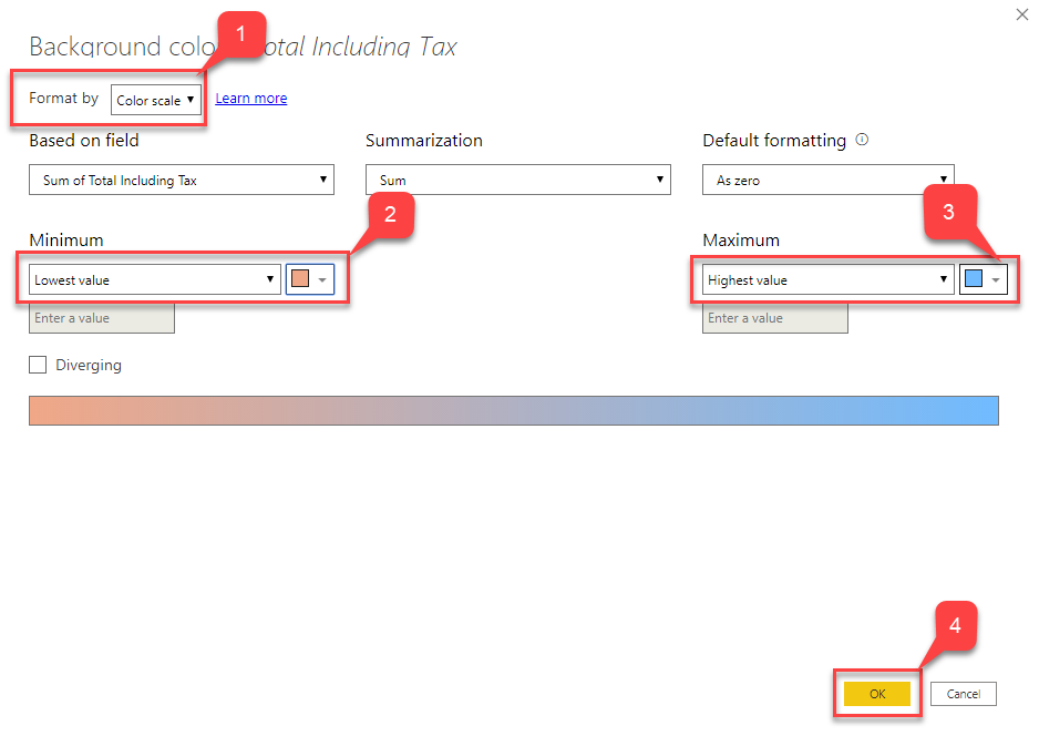 Defining Color Scale for conditional formatting in Power BI