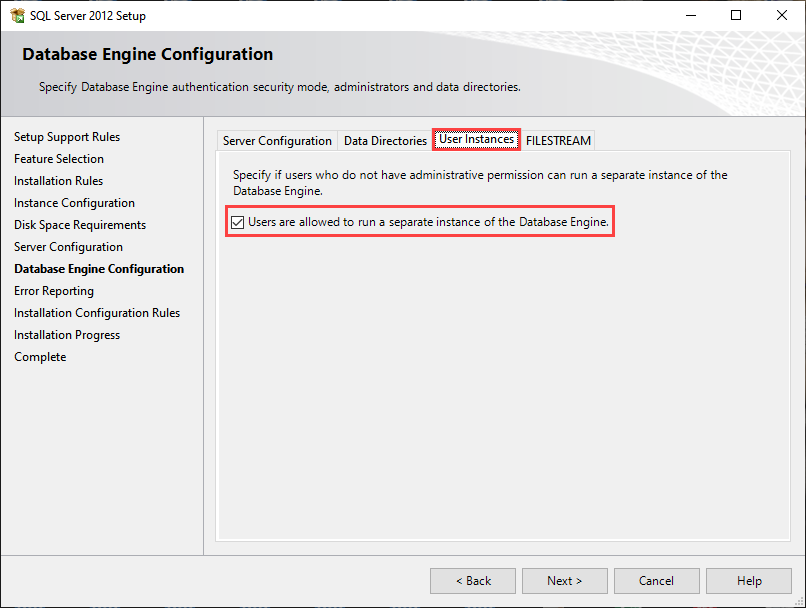 Enable SQL Server 2012 express edition user instance