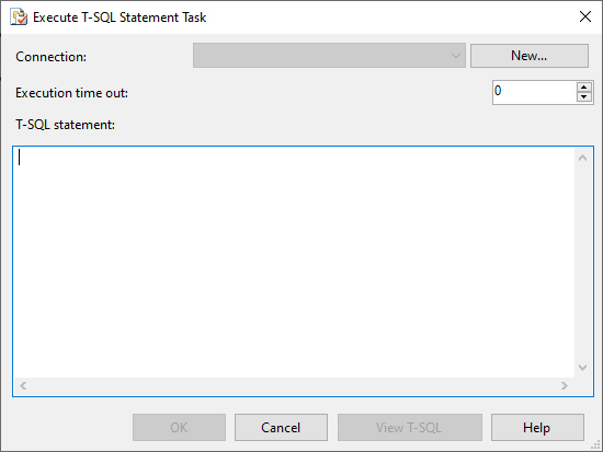 Execute T-SQL statement task editor form