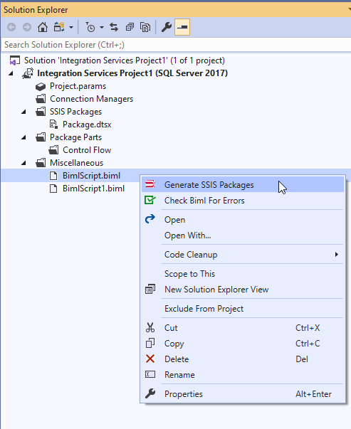 Generating SSIS package from the Biml script
