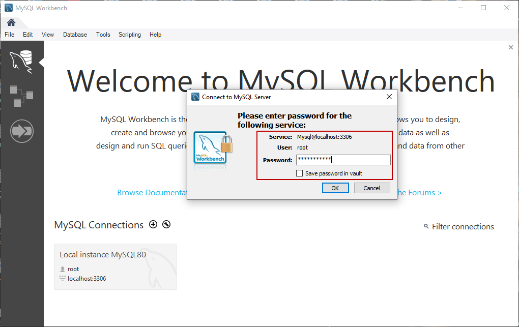 Login to MySQL Workbench