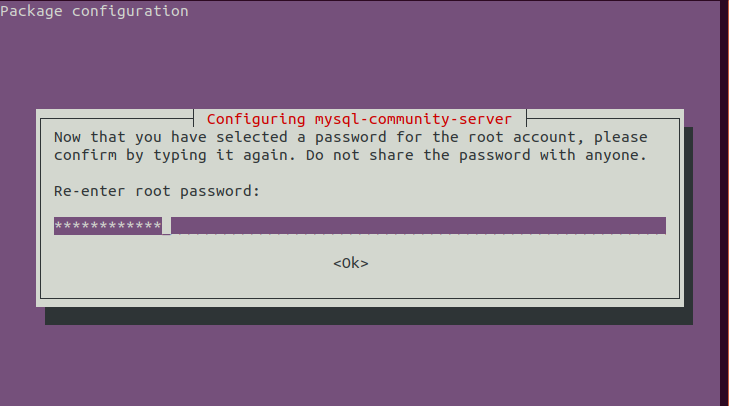 MySQL 8 installation - Re-enter a password for the root user
