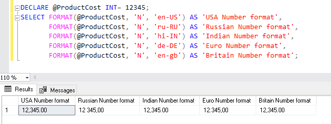 Number format using FORMAT function
