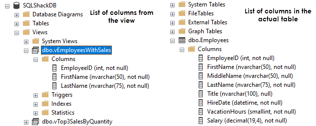 Object Explorer showing the difference between the list of columns in a table and a view