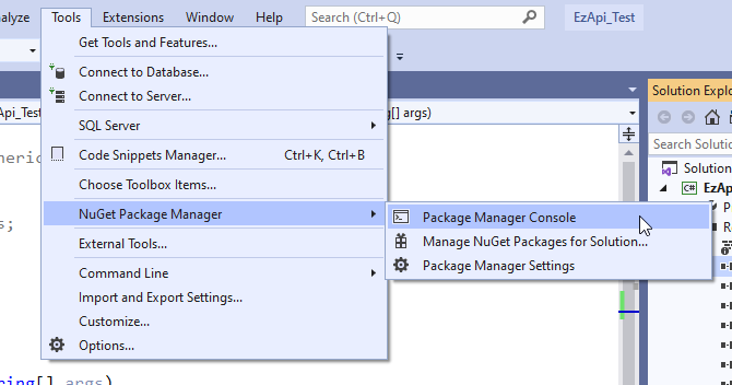 Openning Package Manager console