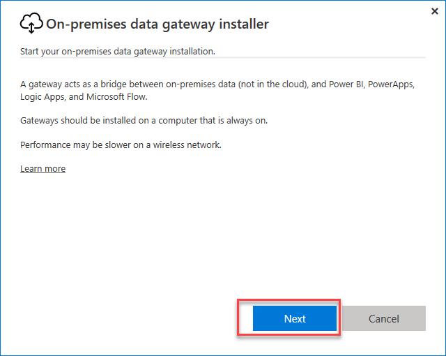 Power BI Data Gateway Installer