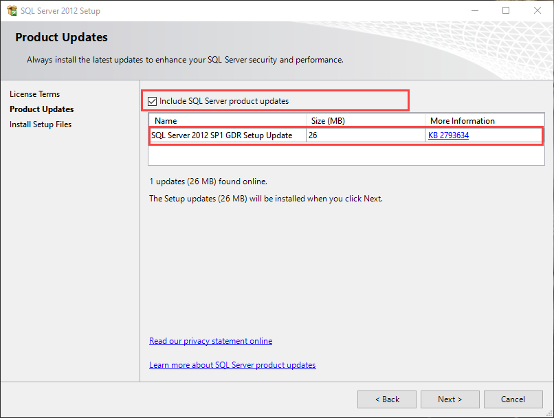 Product update for SQL Server 2012 express