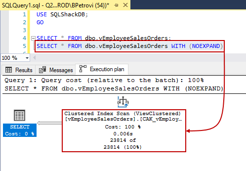 Script for selecting all records from a view with no expand option that forces SQL Server to use the index in the execution plan