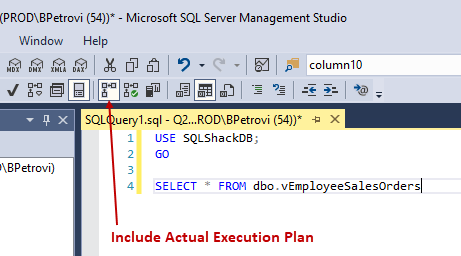 Script for selecting all records from a view with the Actual Execution Plan option enabled from SSMS
