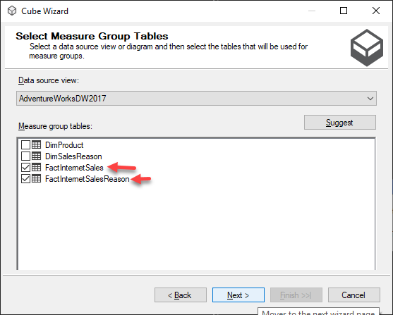 Select Measure Groups