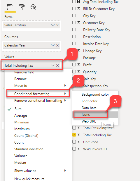 Selecting Icons for conditional formatting in Power BI