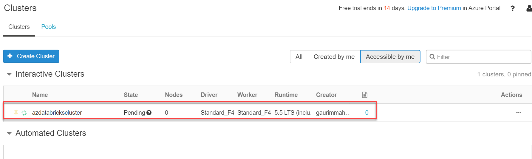 Spark cluster in pending state in databricks on Azure