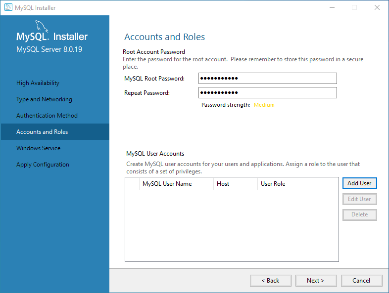 Specify root password and create a MySQL User account
