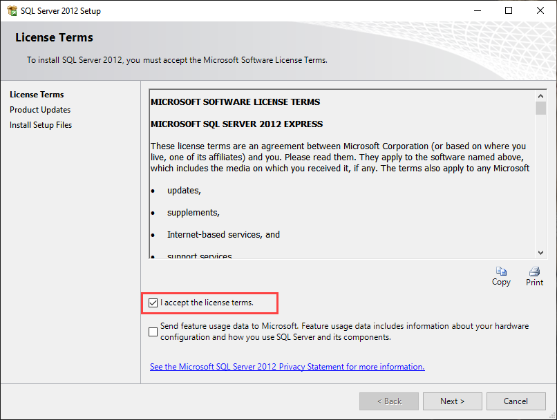 SQL Server 2012 express edition License terms