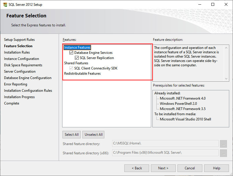 SQL Server 2012 express Feature selection