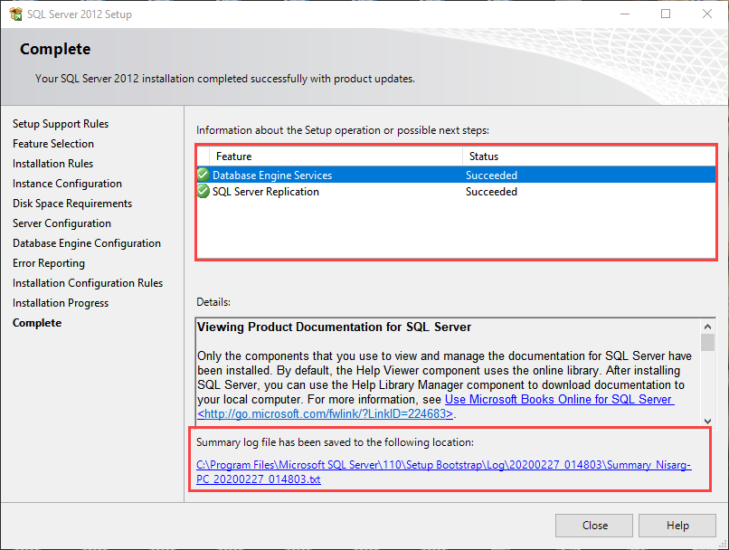 SQL Server 2012 express installed successfully