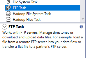 SSIS FTP Task description from SSIS toolbox