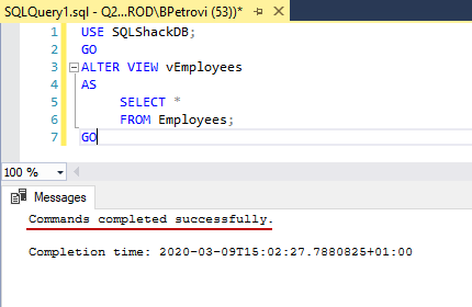 Successfully executed CREATE VIEW SQL statement for altering view's definition and adding COUNT_BIG to the select list