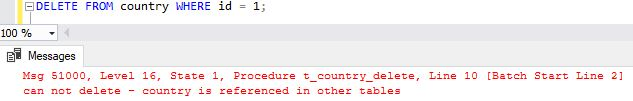 the error message thrown by the SQL trigger