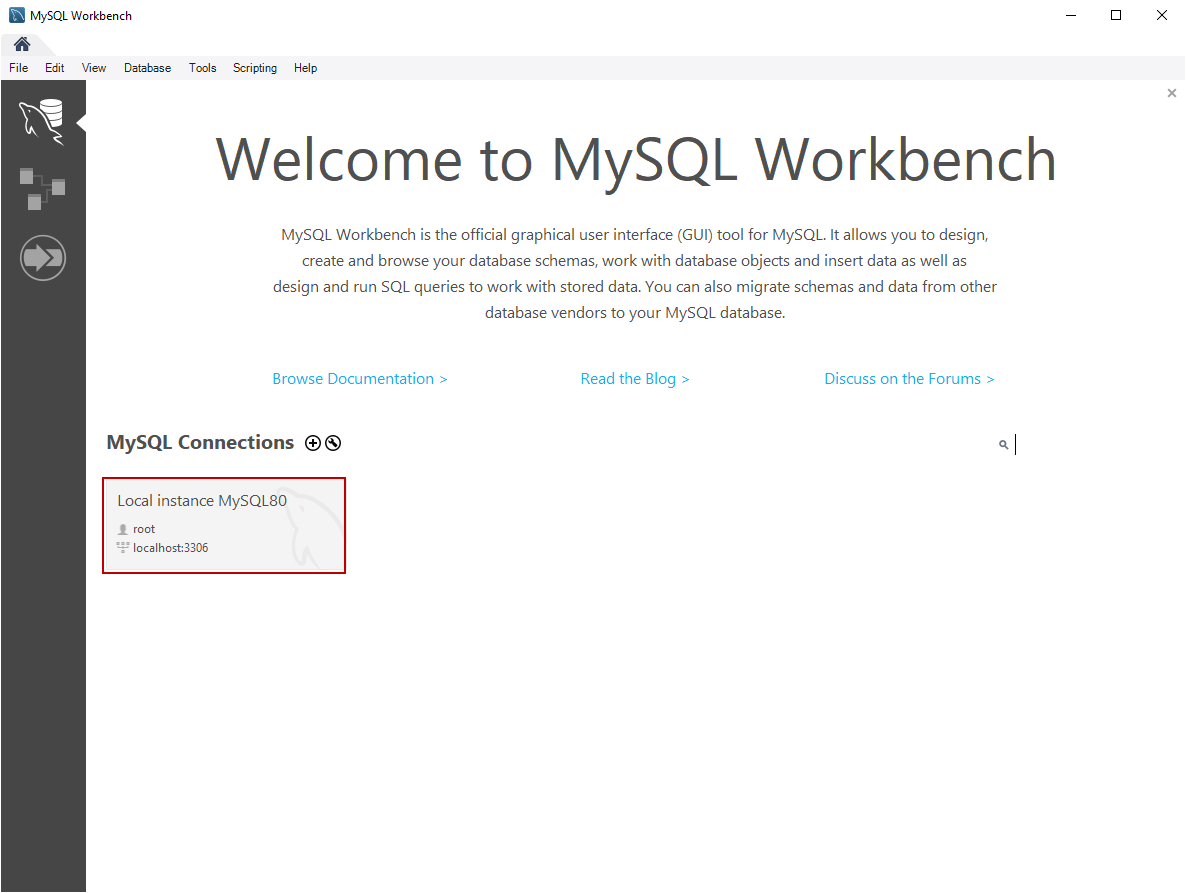 Welcome screen of MySQL Workbench